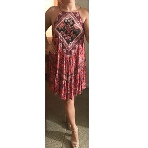 AMERICAN EAGLE Red Boho Halter Dress